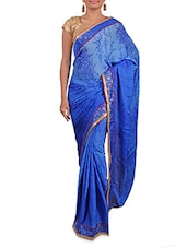 Blue Printed Satin Chiffon Saree - By