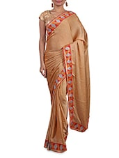 Beige Satin Saree With Multicoloured Border - By