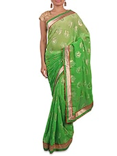 Shaded Green Printed Saree With Gold Border - By