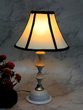 White Metal And Fabric Table Lamp - By