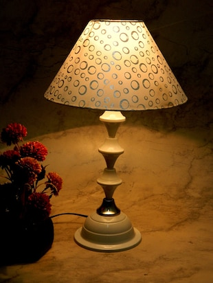 White Metal And Fabric Table Lamp