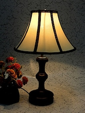 FABULOUS WOODEN TABLE LAMP WITH STRIPE SHADE - By