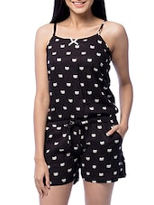 Black Rayon Printed Jumpsuit - By