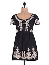 Black Floral Embroidered Viscose Dress - By