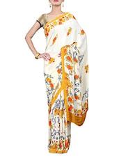 Cream Floral Print Crepe Saree - By