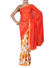 Blood Orange And White Printed Saree - By