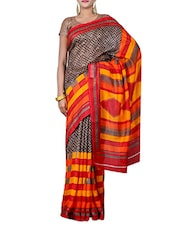Brown Printed Bhagalpuri Silk Saree - By
