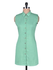 Green Cotton Sleeveless Tunic - By