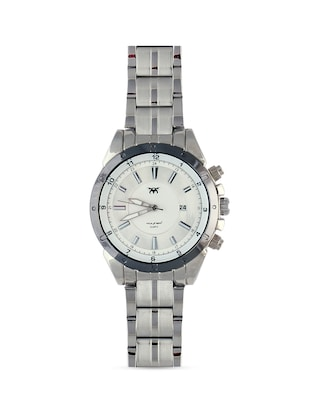 white base round frame solid silver strap watch