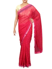 Red Faux Georgette Printed Brocade Saree - By