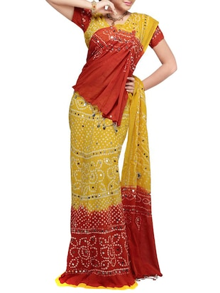 red & yellow cotton lehenga