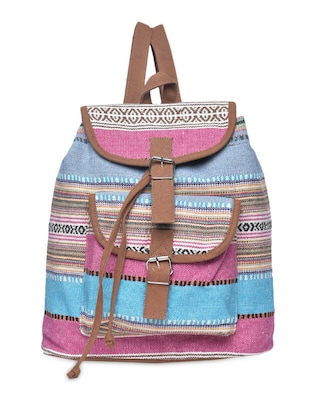 Blue and Pink Canvas Buckled Backpack