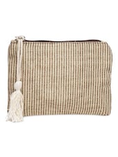 Beige And Brown Check Pattern Cotton Pouch - By