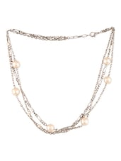 Silver Beaded Pearl Metallic Necklace - By
