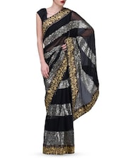 Black Sequin Worked Georgette Net Velvet Saree - By