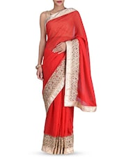 Red Embroidered Zardosi Georgette Saree - By