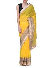 Yellow Embroidered Zardosi Chiffon Net Saree - By