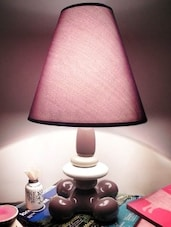 Brown Ceramic And Cotton Table Lamp - By