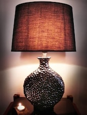 Black Ceramic And Cotton Table Lamp - By