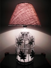 Beige And White Cage Table Lamp - By