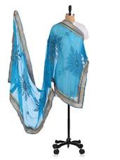 Blue Zari Embroidered  Chiffon Dupatta - By