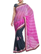 Pink And Grey Georgette Printed Sari - By