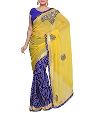 Yellow And Blue Georgette Printed Sari - By