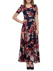 navy blue floral print georgette maxi dress -  online shopping for Dresses