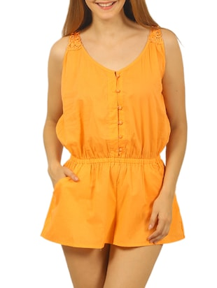 orange cotton romper