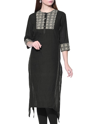Black three-quarter sleeved cotton kurta
