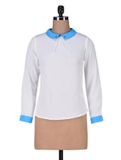 White Polycrepe Collared Top - By