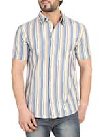 blue striped cotton casual shirt -  online shopping for casual shirts