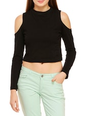 black jersey crop top -  online shopping for Tops