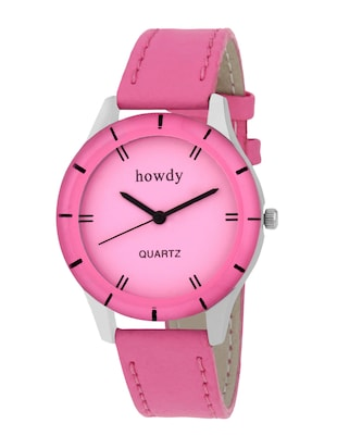 pink leather strap wrist watch