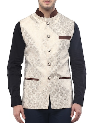 beige silk blend brocade nehru jacket