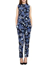 blue floral printed crepe full leg jumpsuit -  online shopping for Jumpsuits