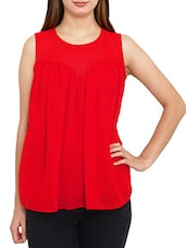red poly georgette regular top -  online shopping for Tops