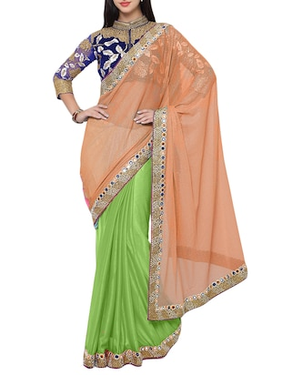 Peach & Green viscose half & half Saree