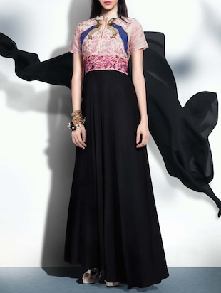 black georgette aline semistitched suit