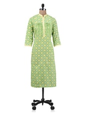 Green Zari Embroidered Printed Cotton Kurta - By