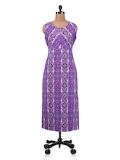 Purple Printed Cotton Kurta - By - 1208857