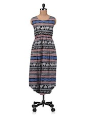 Multicolour Printed Cotton Kurta With Gathers - By