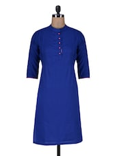 Royal Blue Cotton Kurti - By