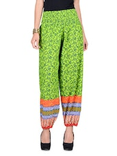 Multicolour Printed Cotton Harem Pants With Gathers - By