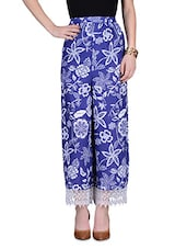 Blue Printed Cotton Pants With Gathers - By