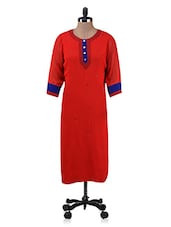 Red Embroidered Poly Georgette Kurta - By