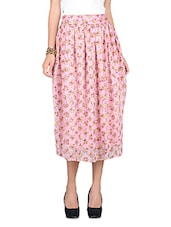 Pink Printed Chiffon Skirt With Gathers - By