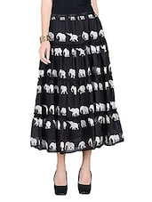 Black Printed Cotton Skirt With Gathers - By