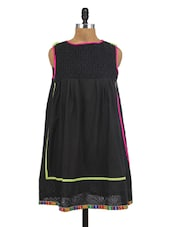 Black Cotton Embroidered Kurta - By