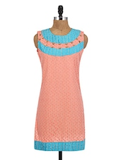 Peach Cotton Embroidered Kurti - By